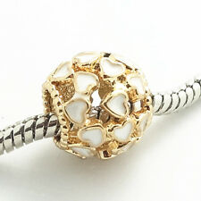 Gold 1pcs CZ European Charm Beads Fit 925 Necklace Bracelet Pendant Chain SH501
