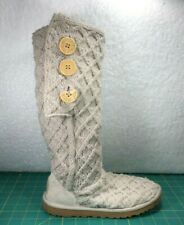 UGG Australia Lattice Cardy Beige Woven Wool Upper Button Up Boots~Women's Sz 5