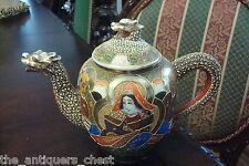 Mid Century Japanese Dragonware Satsuma Moriage teapot Immortals Design [4-10]