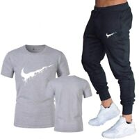 Hot Sale! Summer 2020 Nike Logo Men's 2 Pcs Set Casual Suits Gym Cotton Branded