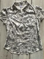 women black white flower stand up collared short sleeve button up blouse Small