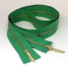 """RiRi Zipper Metal 4, 2 Way Separating End, Brass, Green 2714, Lang S, 34.5"""""""