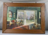A2 / Ancien Image Dans Beaux Châssis Bois - Vue En Park V.Biedermeier Chambre /