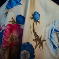 Salvatore Feragamo authentic Italian pure silk twill fabric 70 x 140 cm. DEFECT.