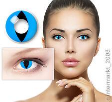 Farbige Crazy Fun Halloween Karneval Kontaktlinsen Contact lenses - CAT EYE BLUE
