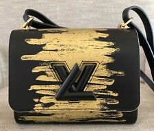 BNIB Authentic Louis Vuitton Black/Gold Leather TWIST PM Bag Black Hardware