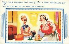 COMIC CRANKY WIFE & POOR OLD SOD HUSBAND COME HOME from WORK POSTCARD