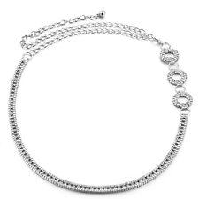Womens Ladies Silver Rhinestone Belt Waist Chain Diamante Diamonds Buckle 737