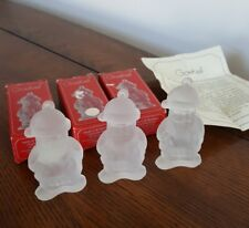 3 Goebel 1979 Crystal Glass Santa Christmas Ornaments