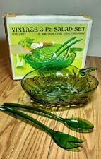Vintage Indiana Glass Co. 3 Piece Salad Set - Olive #0823 w/ original box - NOS