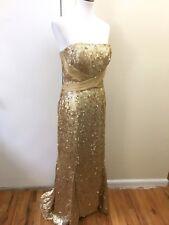 Badgley Mischka Gold Sequin Evening Gown Strapless Size 10 Formal $900