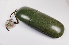 Genuine antique Chinese shagreen eyeglass case with original string & fob. Nice!