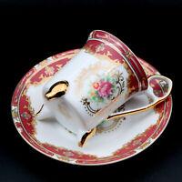 GNA Vintage Floral Porcelain Demitasse Tea Cup Saucer Set Footed with Gold Trim