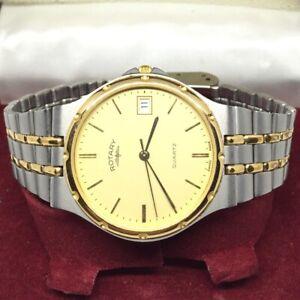 "Genuine Rotary ""Royal Oak"" Swiss Made Mens Watch Vintage Quartz Gold Dress Sport"