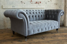 MODERN HANDMADE 2 SEATER METALLIC GREY VELVET CHESTERFIELD SOFA COUCH CHAIR
