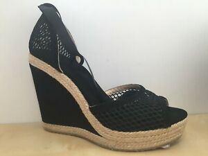 Jimmy Choo PRUE Ankle Wrap Espadrille Wedges Shoe Suede Mesh Black 40 - 9.5