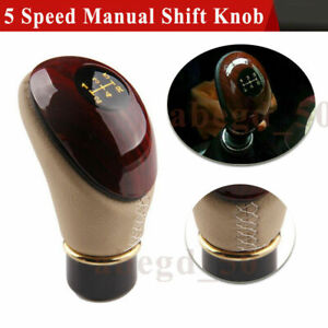 5 Speed Manual Car PU Leather & ABS Gear Shift Knob Shifter Lever Universal Fit