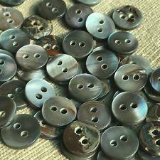 "20pc 16L 13/32"" 10mm Flat Grey Smoke Natural Real Pearl Shell Shirt Button Japan"