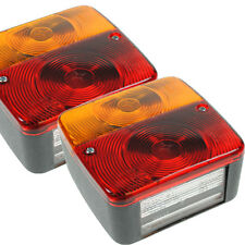 QUALITY TWO 12V VOLT TRAILER CARAVAN REAR SQUARE 4 FUNCTION TAIL LIGHTS BOARD