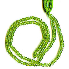 """PERIDOT Faceted Rondelles 3mm Green 14 1/2"""" Gemstone Bead Strand 34cts tw"""