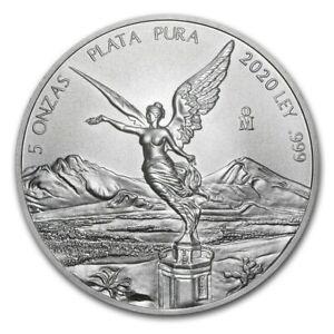 LIBERTAD – MEXICO – 2020 5 OZ BRILLIANT UNCIRCULATED SILVER COIN