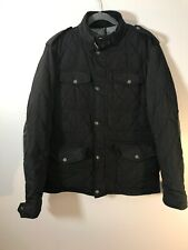 Zara Man Men L Black Quilted Jacket snap closure and cuffs collar Leather Detail