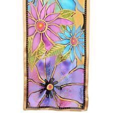 "Laurel Burch 100% Silk Scarf  ""Purple Teal Florals"" 11"" x 53"""