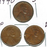 1940-D+P+S Circulated Business Strike Copper One Cent Coins!
