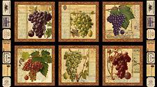 .6 Yard Cotton Fabric - Elizabeth's Studio Italian Vineyard Grape Wine Panel