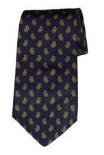 Brooks Brothers Silk Tie Navy Blue Gold Paisley Men's