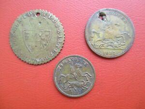 3 x gaming tokens -  'To Hanover'  & George III guinea    (ref J140)