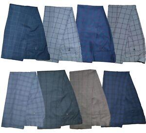 Mens Cavani Peaky Blinders Check Suit Trousers Vintage Slim Fit Regular Leg
