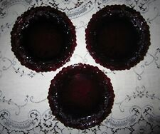Vtg Avon 3 Ruby Red Dessert/Salad Glass Plates Cape Cod Collection 7 1/2 inches