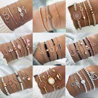 Fashion Women Boho Gold Silver Bracelets Rhinestone Bangle Cuff Jewellery Set