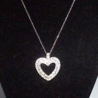 Pendant Necklace Chain Silver Tone Heart Shiny Rhinestone Crystal Statement