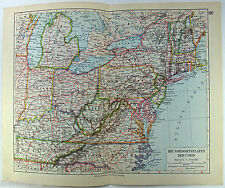 Original 1928 German Map of The Northern States of The USA by Meyers