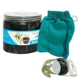 Eucalyptus Black Beldi Soap Natural Hammam Spa Kessa Glove Body Exfoliating Mitt