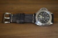MA WATCH STRAP 26 24 22 MM GENUINE VINTAGE LEATHER BAND FOR PANERAI OIL BLACK II