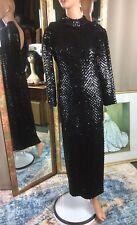 Vintage Lillie Rubin Black Sequin Full Length Sheath Gown L/S Slit Skirt XSmall