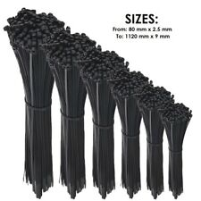 BLACK CABLE TIES / ZIP WRAPS LONG SHORT Thick Thin Narrow Small Fastener QUALITY