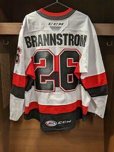 GAME WORN Erik Brannstrom Belleville Senators WHITE Jersey - Size 54