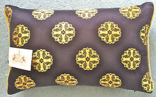 DESIGNERS GUILD FABRIC ROYAL COLLECTION ORIEL NOIR BOLSTER COVER ROYAL 27x43cm
