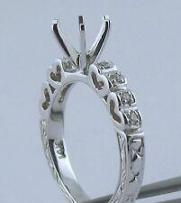 14K White Gold For Center 1.5Ct Semi Mount Diamond Ring Heart Shape & Engrave