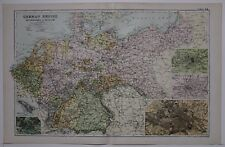 1910 ORIGINAL MAP GERMAN EMPIRE NETHERLANDS & BELGIUM BERLIN HAMBURG METZ