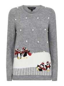 Dorothy Perkins Grey Penguin Bobble Christmas Jumper Size 10
