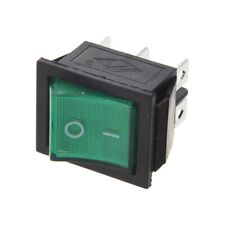 2x Square Rocker Switch Green LED 4-Pin DPST On/Off Snap-In 15A/250V AC Car 12V