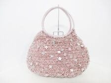 Auth ANTEPRIMA Wire Bag Pink Silver Wire Patent Leather Leather Handbag