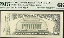 1995 $5 DOLLAR INSUFFICIENT INKING ERROR NOTE MISSING PRINT PAPER MONEY PMG 66