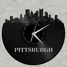 Pittsburgh Vinyl Wall Art Clock Skyline Cityscape Unique Gift Home Bedroom Decor