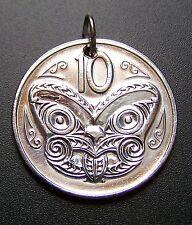 New Zealand Coin Pendant, 10 Cents Maori Mask #81